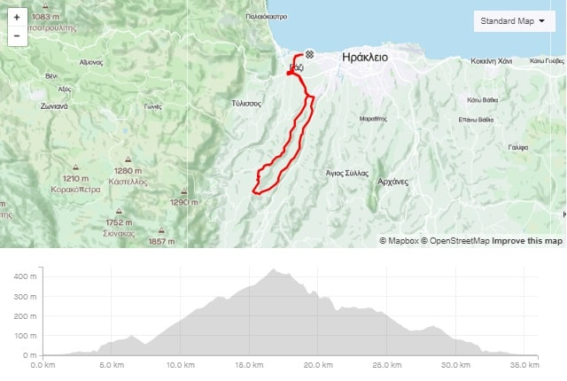 Agios Myronas Stavrakia road bike tour start from Amoudara Crete-min