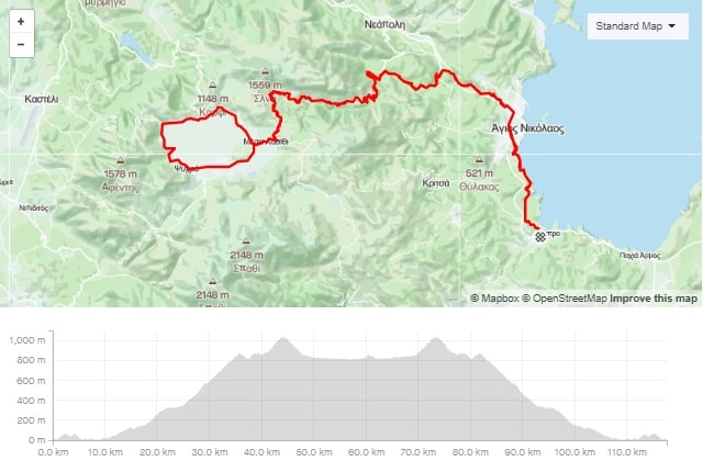 Climb and round of Lasithi bike tour map and elevation map-min