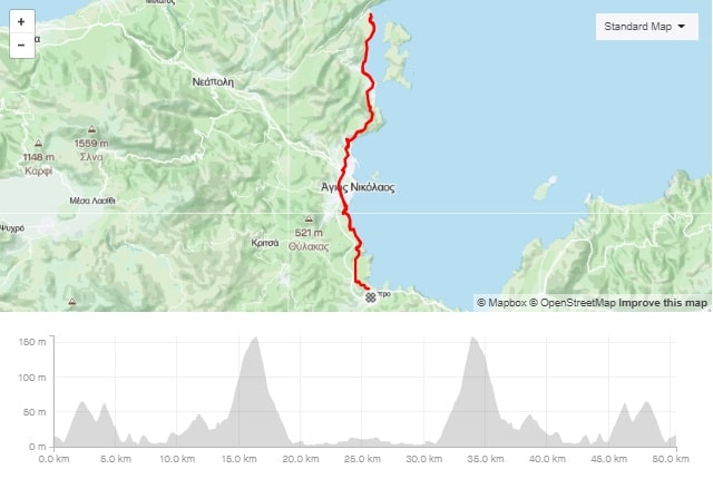 Elound one way bike tour map and elevation map-min