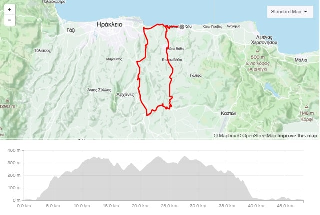Episkopi Peza Karteros road bike tour start from kokkini chani Crete map and elevation-min