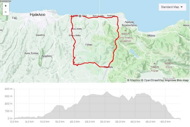 Kasteli Apostoli Episkopi road bike tour start from kokkini chani Crete map and elevation-min