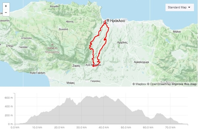 Krousonas Prinias Ai thomas Stavrakia road bike tour start from Amoudara Crete-min