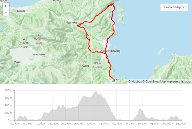 Lakonia Elounda loop bike tour map and elevation map-min