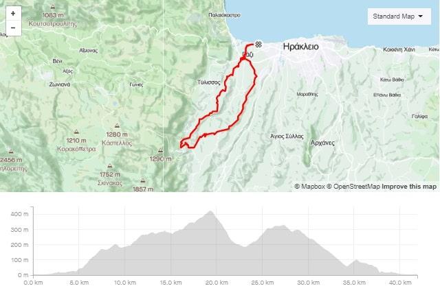 Malvicino road bike tour start from Amoudara map and elevation-min