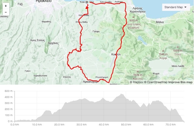 Pediada round road bike tour start from kokkini chani Crete map and elevation-min
