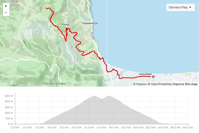 Rogdia climb road bike tour start from Amoudara map and elevation-min