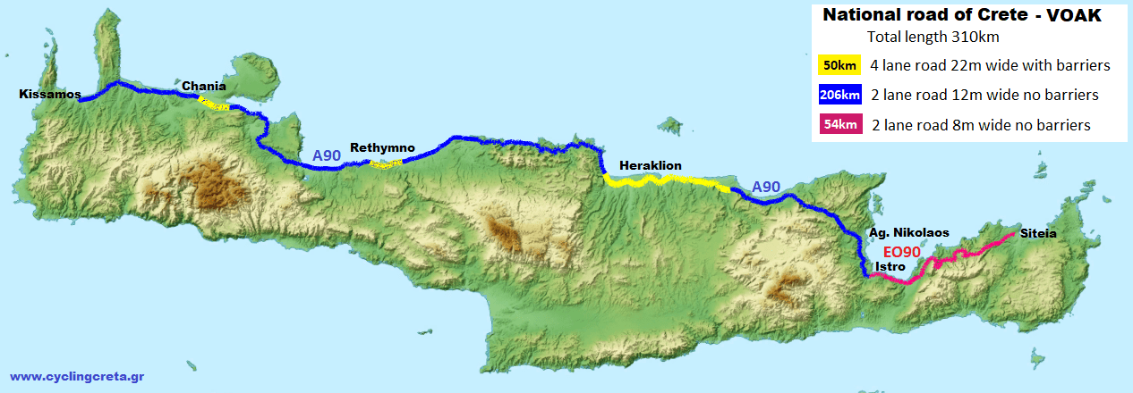The-high-way-of-Crete-A90-relief-map-description-of-each-road-BOAK-ΒΟΑΚ-Are the roads of Crete good for cycling?