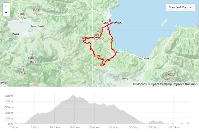 Agios Kritsa Kroustas road bike route from Agios Nikolaos Crete bike rental rennrad verleih Kreta map of the tour-min