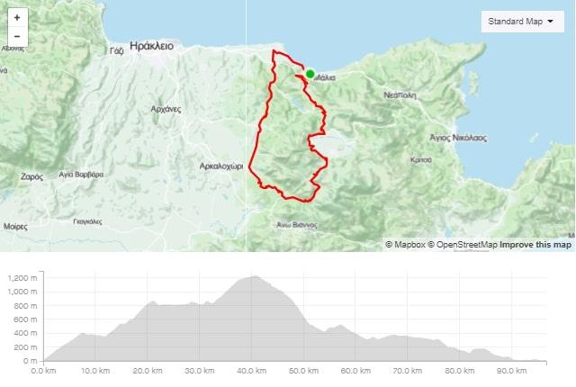 Agios Manolis (west Dikti) road bike route start from Stalida Crete cyclingcreta bike center map-min