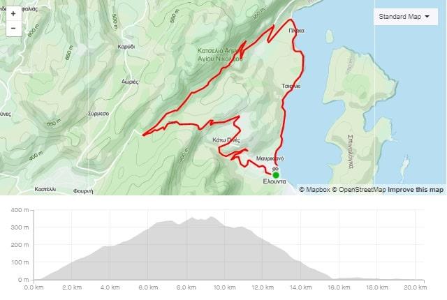 Havgas road bike route start from Elounda Crete cyclingcreta bike center map-min