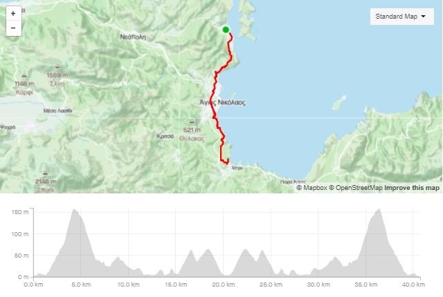 Istro coastal road bike route start from Elounda Crete cyclingcreta bike center map-min
