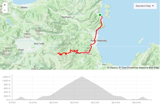 Katharo climb road bike route start from Elounda Crete cyclingcreta bike center map