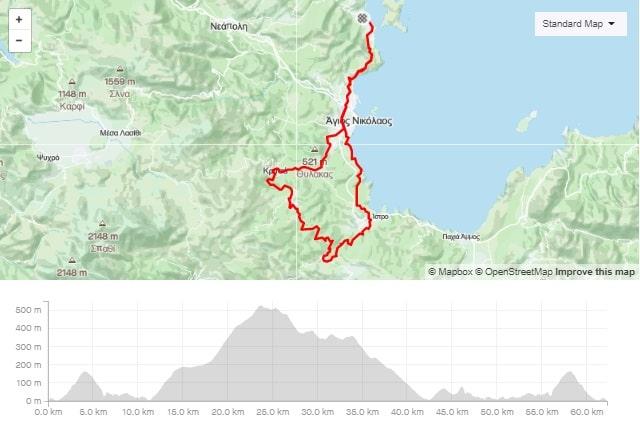 Kritsa Kroustas road bike route start from Elounda Crete cyclingcreta bike center map-min