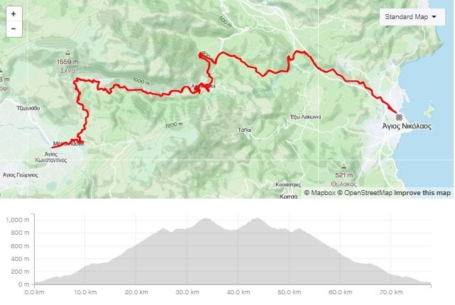 Lasithi climb road bike route from Agios Nikolaos Crete bike rental rennrad verleih Kreta map of the tour-min