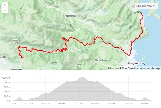 Lasithi plateau climb road bike route start from Elounda Crete cyclingcreta bike center map-min