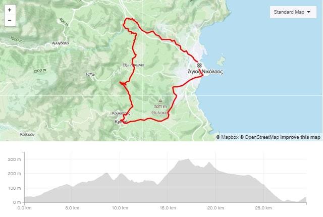Lato short road bike route from Agios Nikolaos Crete bike rental rennrad verleih Kreta map of the tour-min