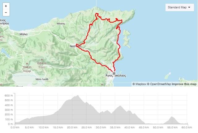 Merabeliotissa road bike route from Agios Nikolaos Crete bike rental rennrad verleih Kreta map of the tour-min
