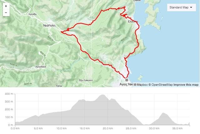 Merabeliotissa short road bike route from Agios Nikolaos Crete bike rental rennrad verleih Kreta map of the tour-min