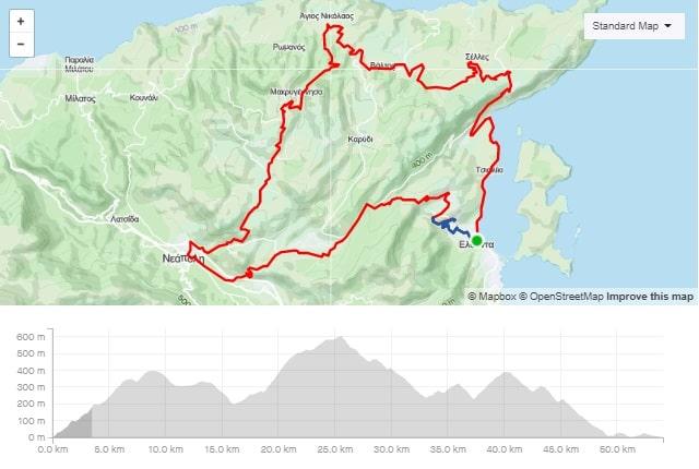 Merabeliotissa west road bike route start from Elounda Crete cyclingcreta bike center map-min