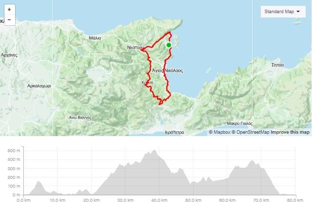 Merabello round road bike route start from Elounda Crete cyclingcreta bike center map-min