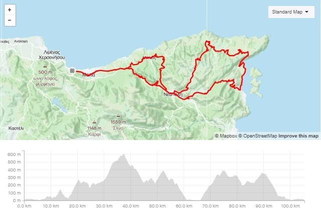 Merabello round road bike route start from Stalida Crete cyclingcreta bike center map-min