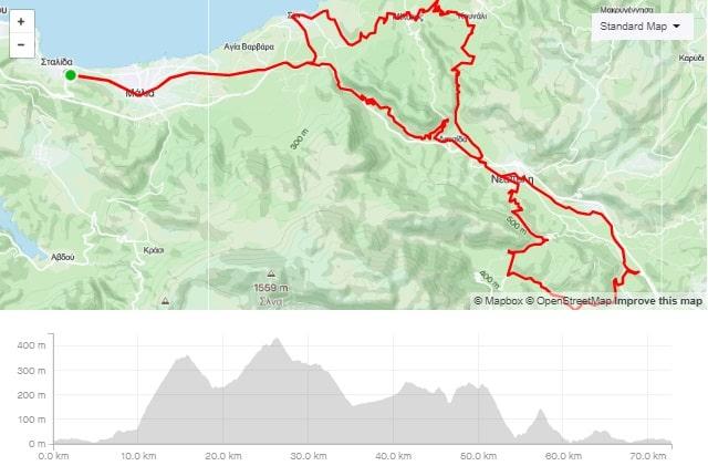 Neapoli Vryses Milatos road bike route start from Stalida Crete cyclingcreta bike center map-min