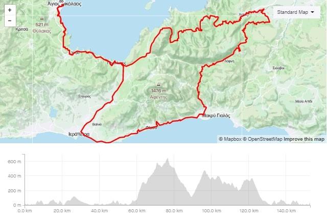 Orno round road bike route from Agios Nikolaos Crete bike rental rennrad verleih Kreta map of the tour-min