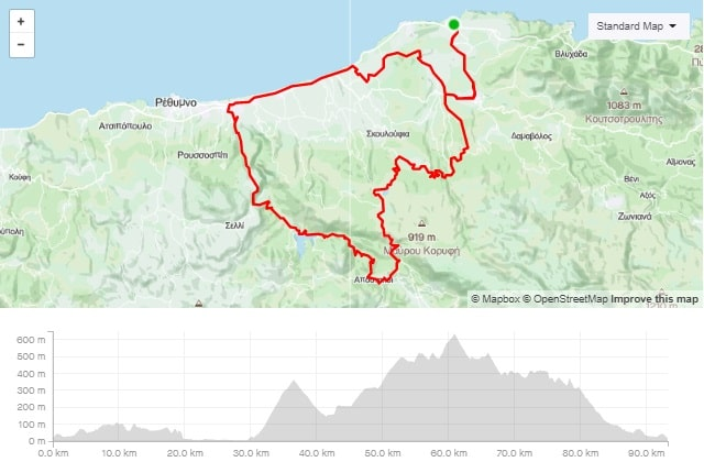 Panormos - 5 Rivers Dam road bike route map start from Panormo bike area Crete road bike rental mountain bike rental ebike rental Kreta fahrradverleih-min