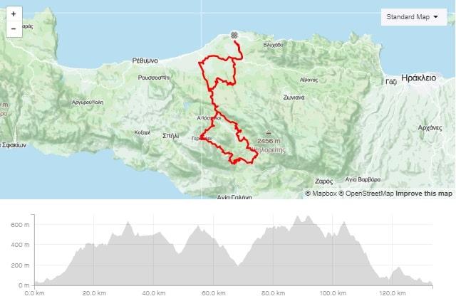 Panormos - Amari road bike route map start from Panormo bike area Crete road bike rental mountain bike rental ebike rental Kreta fahrradverleih-min