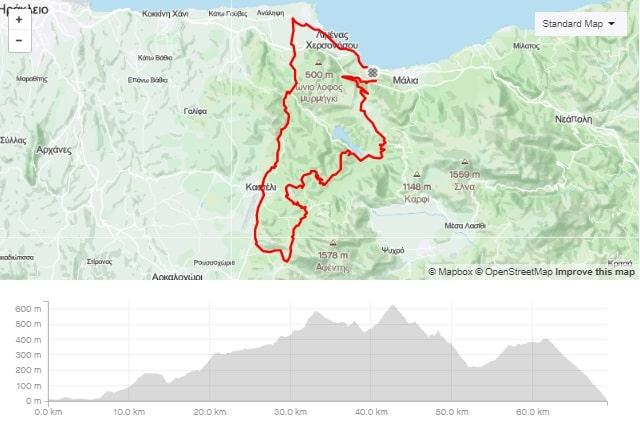 Rizovounia road bike route start from Stalida Crete cyclingcreta bike center map-min
