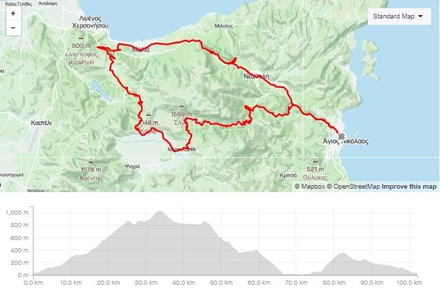 Selena round road bike route from Agios Nikolaos Crete bike rental rennrad verleih Kreta map of the tour-min