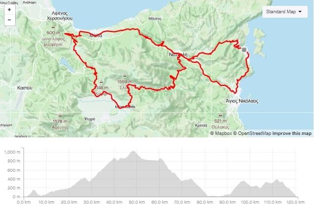 Selena round road bike route start from Elounda Crete cyclingcreta bike center map-min
