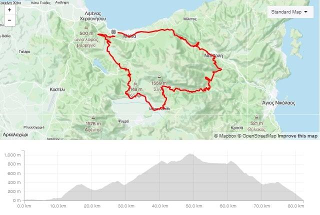 Selena round road bike route start from Stalida Crete cyclingcreta bike center map-min