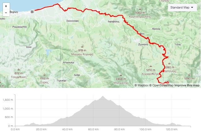 Skinakas climb road bike tour start from Rethymno map and elevation-min