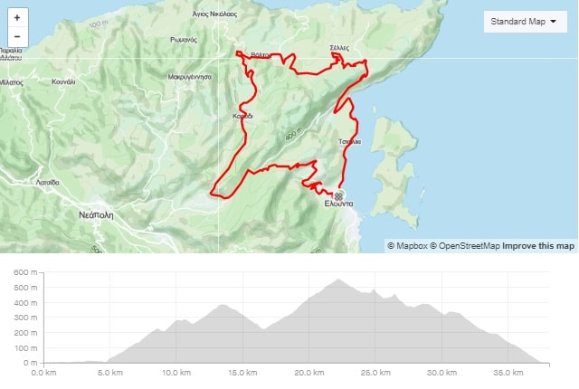 Skinias Karidi Pines road bike route start from Elounda Crete cyclingcreta bike center map-min