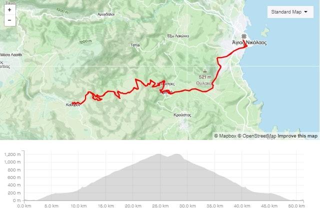 The great climb of Kritsa road bike route from Agios Nikolaos Crete bike rental rennrad verleih Kreta map of the tour-min