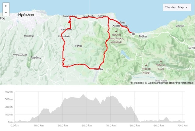 kasteli Apostoloi Episkopoi road bike route start from Stalida Crete cyclingcreta bike center map-min