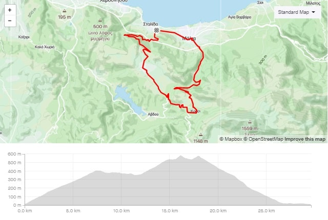 mochos Krasi road bike route start from Stalida Crete cyclingcreta bike center map-min