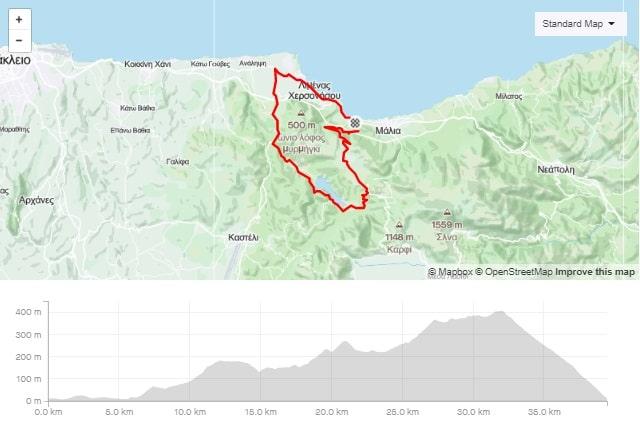 mochos classic road bike route start from Stalida Crete cyclingcreta bike center map-min