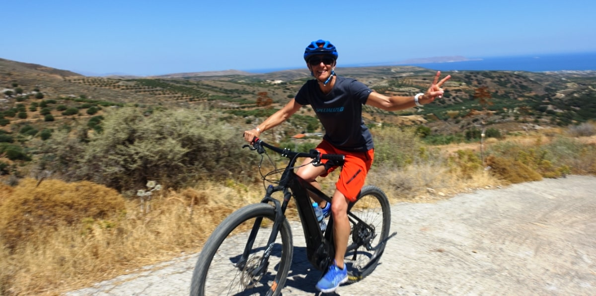 ebike guided in the nature of Crete woman cyclist